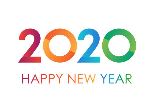Colorful text 2020 Happy New Year. Text for greeting card on white background, calendar, invitation. Minimalist design.