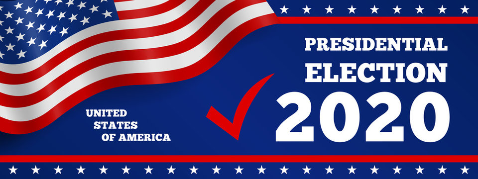 USA 2020 presidential election horizontal banner design with american flag on blue background