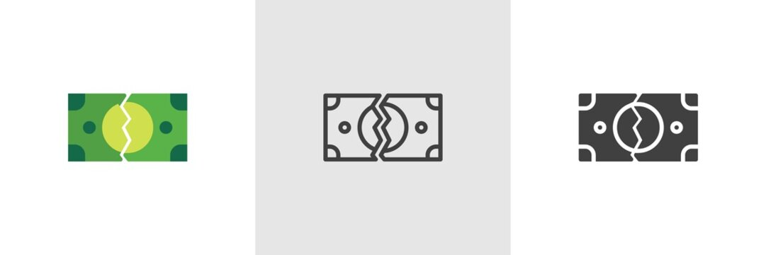 Tearing money banknote icon. Line, glyph and filled outline colorful version, Money Torn outline and filled vector sign. Broken Bills symbol, logo illustration. Different style icons set.