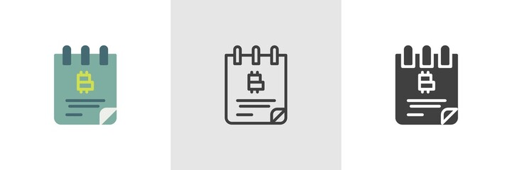 Bitcoin cheque book icon. Line, glyph and filled outline colorful version, cryptocurrency notepad outline and filled vector sign. Symbol, logo illustration. Different style icons set. Vector graphics