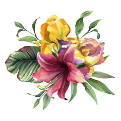 watercolor colorful bouquet with iris flower and tropical flower and leaves isolted on white background
