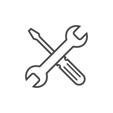 Repair icon grey. Wrench and screwdriver icon. Settings icon isolated