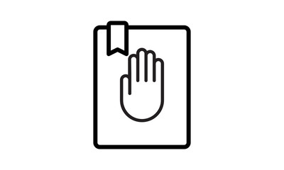 Oath on bible constitution line icon vector image