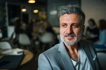 A portrait of a mature businessman sitting in a cafe. Copy space.