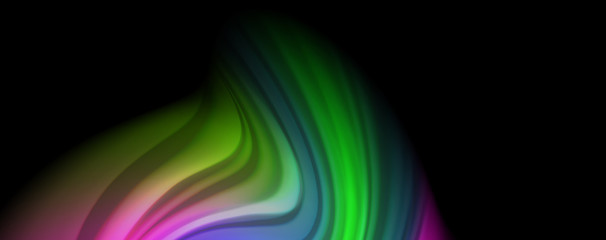 Modern rainbow liquid color flow colorful poster. Wave Liquid shape in black color background. Abstract composition