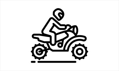 Motorcyclist riding motorbike  outline vector image