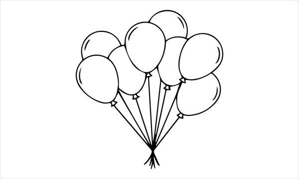 balloon icon. simple outline balloon vector icon. on white background.