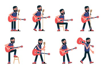 Singer guitarist sings in various poses. Musician with acoustic guitar. Vector flat character.