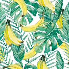 watercolor tropical leaves and banana. Seamless pattern summer botanical fruit banana for the textile fabric and wallpaper