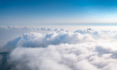 The sea of clouds under the blue sky and white clouds, Emei mountain, Sichuan province, China Wall mural