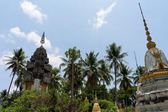 Stupa's in the Garden at Wat Samrong Knong, Battambang, Cambodia