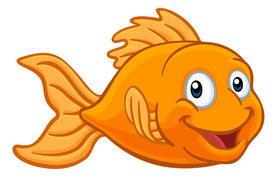 A friendly cartoon goldfish or gold fish character