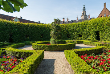 Renaissance style park 'Prinsentuin' and the Martinitoren in the inner city of Groningen, the Netherlands.