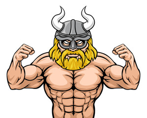 A Viking warrior gladiator cartoon sports mascot
