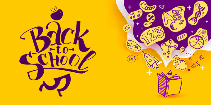 Back to School banner with line art icons of education, science objects on paper art cut out icons. Vector hand drawn doodle style illustration. Apple as symbol of education and ink drawings