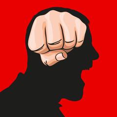 Concept du sentiment de haine avec un poing vu de face, qui prend la place d'un cerveau sur le profil d'un homme en colère.