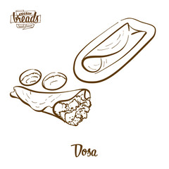 Dosa bread vector drawing