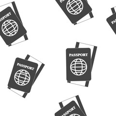 International passport with ticket vector illustration seamless pattern on a white background.