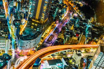 Fototapete - city skyline night view of Ikebukuro in tokyo