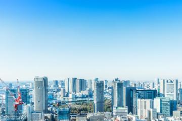 Fototapete - modern city skyline aerial view in Tokyo, Japan