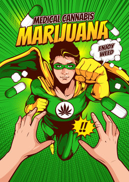 Men in superhero costumes are fighting on book covers, marijuana banner, enjoying weeds, comic book cover template on red background, flyer brochure speech bubbles, doodle art, Vector illustration, yo