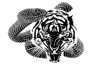 snake and tiger fighting, tattoo vector illustration