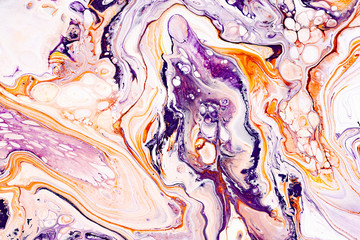 Purple and orange marbled colorful texture. Modern natural resin art, realistic stone pattern wallpaper.