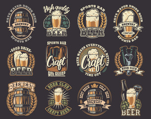 Big set of vector illustrations on the beer theme.