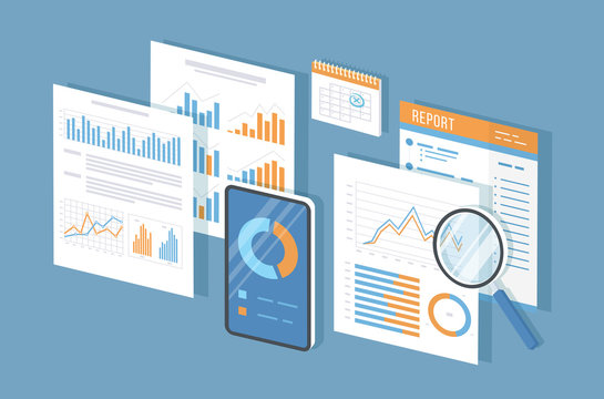 Mobile auditing, data analysis, statistics, research. Phone with information on the screen, documents, report, calendar, magnifier. Growing charts and graphics. Isometric 3d vector illustration.