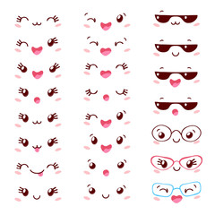 Cute funny characters face set isolated on white background. Smiling cartoon cool happy collection. Hand drawn vector illustration.