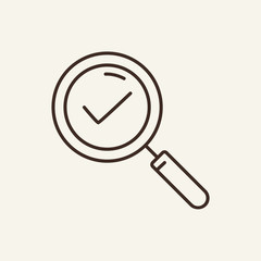 Done found line icon. Magnifying glass, checkmark, approved. Business concept. Vector illustration can be used for topics like workflow, communication, technology, business, information