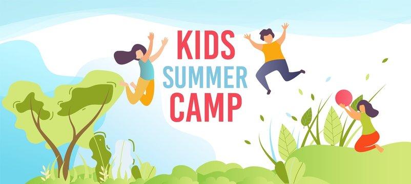 Kids Summer Camp on Holiday Cartoon Flat Banner