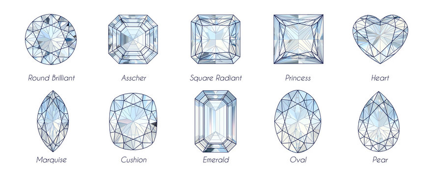 Ten popular diamond shapes with titles on white background.