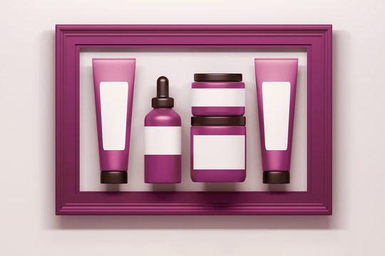Set of pink cosmetics packaging bottles tubes collection with white blank clear labels inframed in large pink frame.  3d illustration.