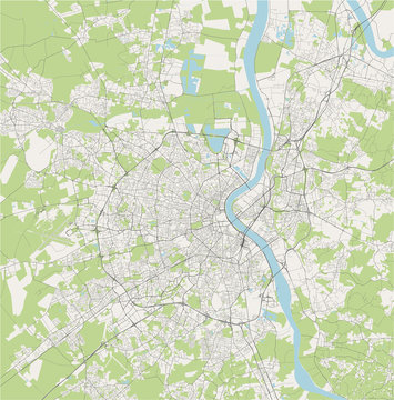 vector map of the city of Bordeaux, France, Nouvelle-Aquitaine, Gironde