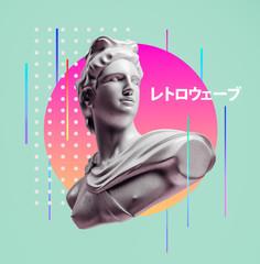 Apollo style design background vaporwave concept. 3d Rendering.