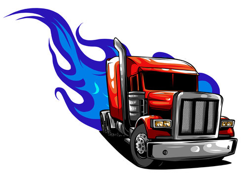 Vector Cartoon Semi Truck. vector illustration design