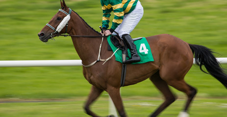 speeding fast motion blur effect, galloping Jockey and race horse