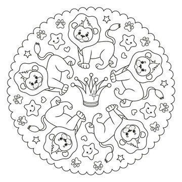 Coloring page mandala with a lion and a crown. Vector Illustration.