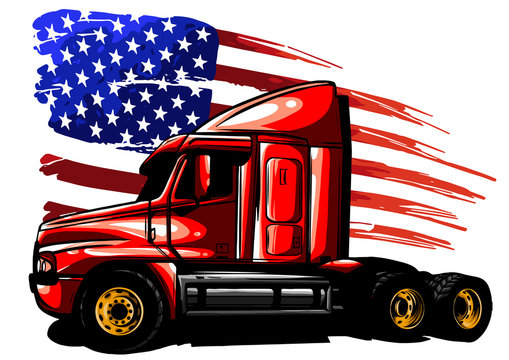 vector graphic design illustration of an American truck with stars and stripes flag