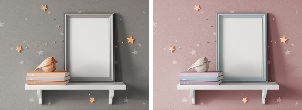 3d realistic render frame on shelf with books and ceramic bird. Mock up template. Fashion design.
