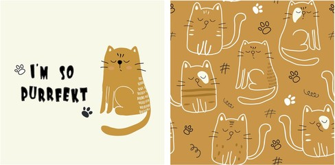 set of cute cat print and seamless pattern with cats. vector