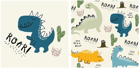 Estores personalizados com sua foto set of cute dinosaur print and seamless pattern with dinosaurs. vector illustration