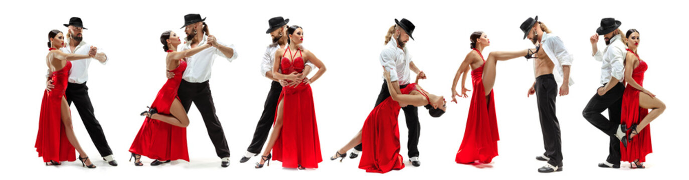 Elegance Latino dancers on white studio background. Beautiful and sensual couple dancing latina's dance or tango in bright clothing, full of motion, passion and action. Collage made of 2 models.