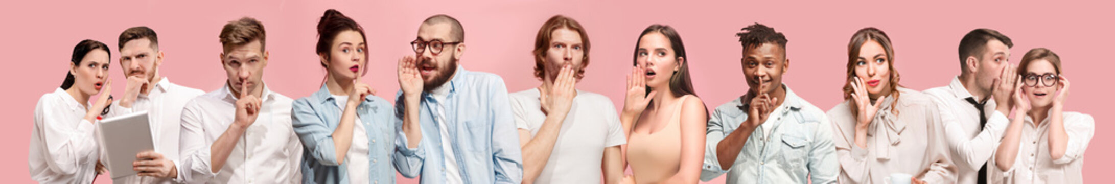 Secret, gossip concept. Young men and women whispering a secret behind hands. Business people on trendy pink studio background. Human emotions, facial expression concept. Creative collage of 9 models.