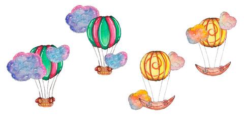 Hand drawn watercolor romantic set of air ballons
