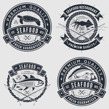 Set of Seafood label, badge, emblem or logo for seafood restaurant, menu design element. Vector illustration