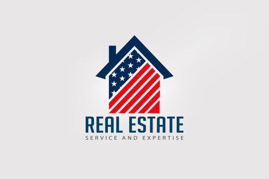 Real Estate American house red and blue logo
