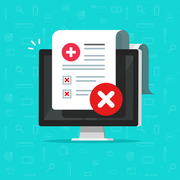 Bad medical check or diagnosis document vector illustration, flat cartoon computer with unhealthy patient document report on screen, online clinical test results analysis image