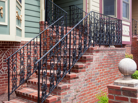 Modern decorative black iron residential stairs.